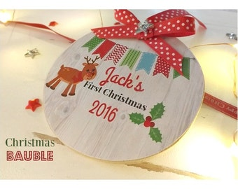 Personalised First Christmas  Bauble Plaque Sign Children's Gift