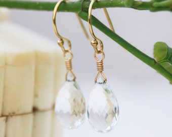Crystal Quartz Earrings - 14K Gold Filled Crystal Quartz Earrings - Simple Earrings