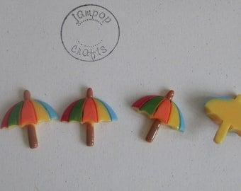 Set of FOUR resin flat back Umbrellas