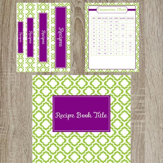 Green And Purple Moroccan Recipe Binder Kit Printable Recipe