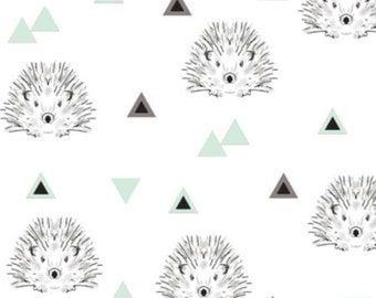 Fitted Cot Sheet, Fitted Crib Sheet - Hedgehogs in Mint / IN STOCK