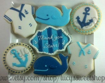 Nautical/Whale Baby Shower Cookies - Blue and white sailor, whale, and nautical anchor cookies for a boys baby shower