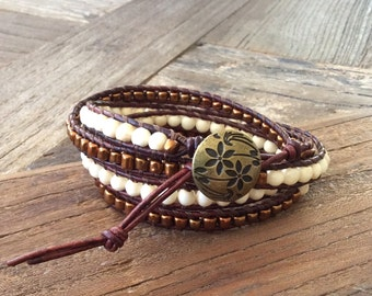 CatMar Beaded Copper and Bone Wrist Wrap Bracelet on Brown Greek Leather Cord with Button/Loop Closure
