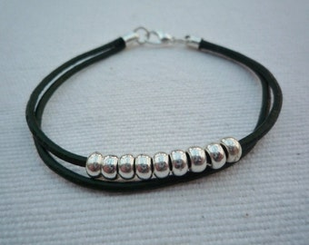 Casual black double strand leather bracelet with silver beads