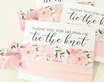 Hair Tie Bridesmaid Gift | Blush Pink Floral Hair Tie Favor, Bridal Shower Favor, Wedding Shower Favor, Light Pink Hair Tie Bridesmaid Gift