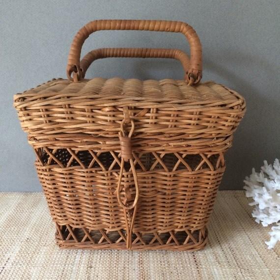 vintage wicker basket with handles wicker recipe box. Black Bedroom Furniture Sets. Home Design Ideas