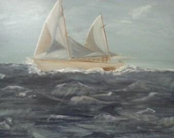 Painting of sailing boat