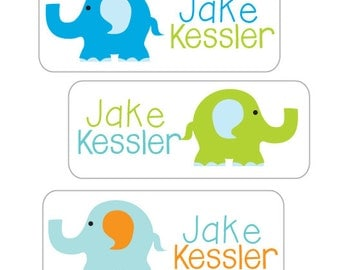 School Name Labels, Boy Elephant Waterproof Stickers,  30 Personalized Labels for daycare, camp, school.  Elephant Stickers