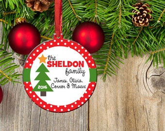 Family Christmas Ornament, 2016 Family Holiday Ornament, Christmas Tree