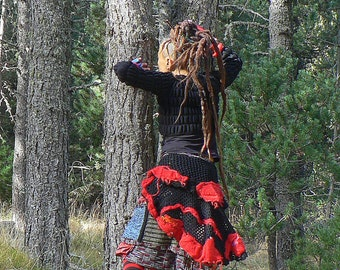 winter skirt with flounces and wool
