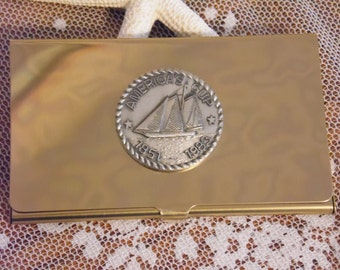 Vintage America's Cup Business Card Holder Brass with Silver Coin New Old Stock 1983 Yacht Club Nautical Boat Captain Crew Member Gift