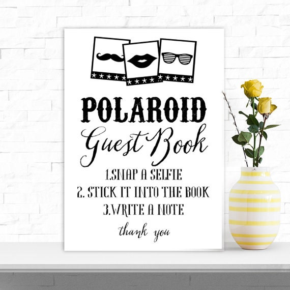 Polaroid Guest Book: Wedding Polaroid Guest Book Take A Selfie Table By