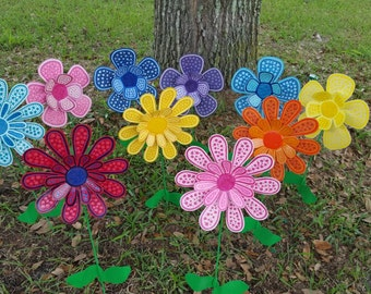 set of 10 flower garden stake garden art metal flower stake garden decorations - Yard Decor