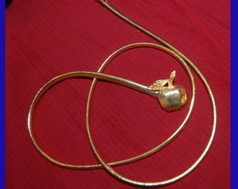 Gold Apple Necklace with chain