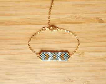 Cheyenne Aqua plate 14-Karat Gold Bracelet and glass Miyuki peyote weaving beads