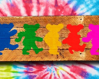 Dancing Bears painting on reclaimed wood - Grateful Dead - Deadhead