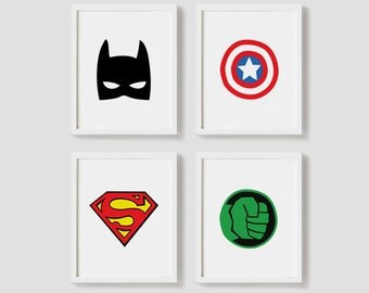 Printable Nursery Art Set of 4 Poster Batman Captain america Superman Hulk art Baby boys room Wall art Child room print INSTANT DOWNLOAD