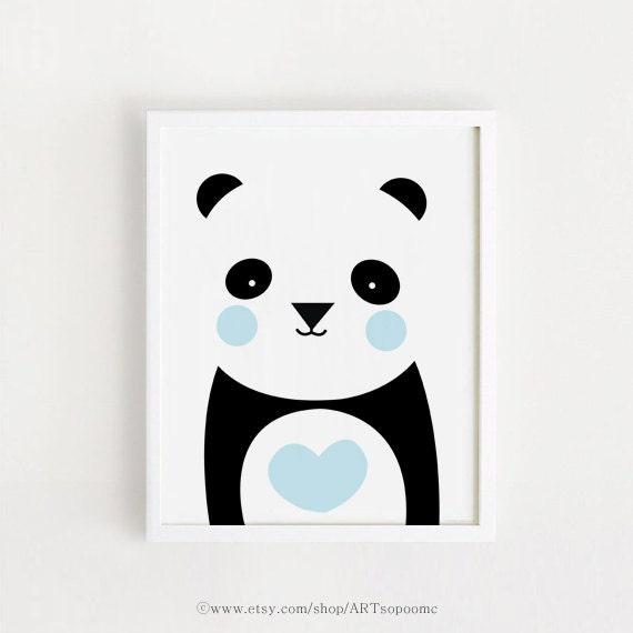 Poster Bebe Instant Download Cute Panda Printable Art Heart