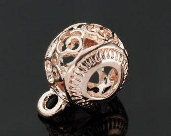 3PCs Rose Gold Bail Beads Filigree Openwork European Beads
