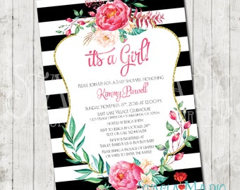 Its A Girl Black and White Stripes Floral Baby Shower Invite