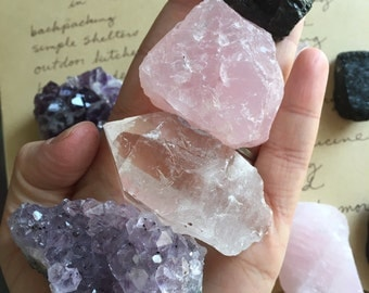Raw Crystals - Four Raw Stones - Crystals - Raw Amethyst Cluster - Black Tourmaline - Raw Rose Quartz -  Gift For Her