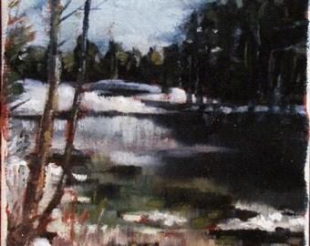 "Original Oil on Canvas Snow in April Landscape 7 1/2"" x 11"""