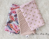 Modern Baby Girl Burp Cloths in Gold and Pink Deer and Chevron, Feathers