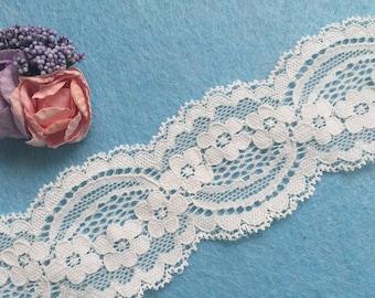Stretch Lace Trim / Bridal Wedding Gater/ Headband lace Trim / Elastic Lace Trim/ Spandex Lace Trim (Z017)