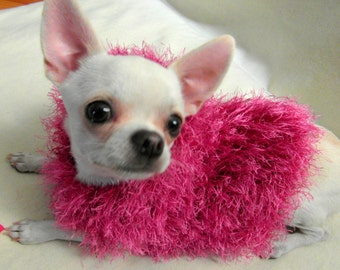 Dog Hoodie - Chihuahua hoodie sweater handknit fuzzy super soft  XXS, XS, S - BubaDog