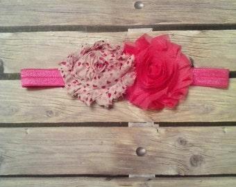 Bright Pink W/ Hearts Baby Headband
