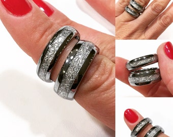 tungsten wedding band his and her promise ring imitated meteorite inlay ring tungsten - Rings Wedding