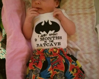 """GIRL/BOY BATCAVE baby onesie and diaper cover/bloomer set/embroidered/batman/""""9 months in the batcave"""", photo prop, matching sets, newborn"""