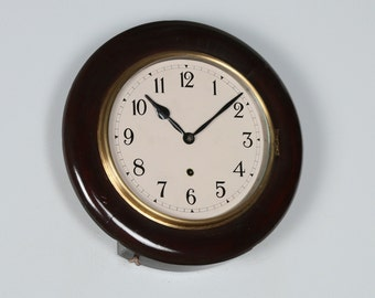 "Antique 14"" Mahogany Ansonia Railway Station / School Round Dial Wall Clock (Time Piece / Timepiece)"