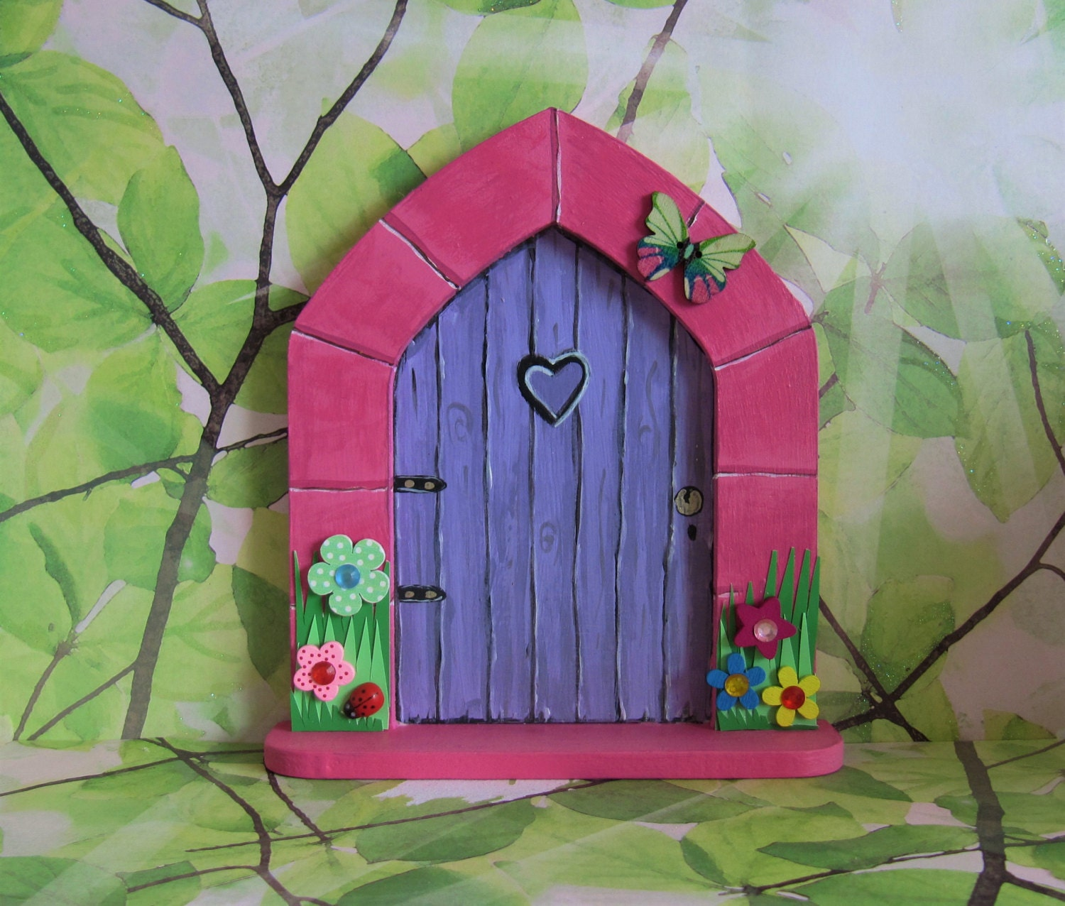 Hand painted fairy door with fairy sprinkles and a key pink for Painted fairy doors