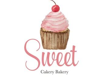 Watercolor Logo, Bakery Logo, Cupcake Logo, premade logo, custom logo, Pink, Boutique logo