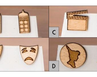 Movie and Play wood earrings