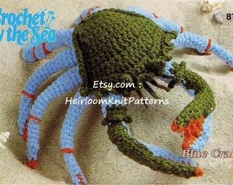 Blue Crab Rare Vintage Crochet Pattern Crochet By The Sea Baby Toy Animal Stuffed Toy Amigurumi Crochet Pattern Instant download PDF - 1018