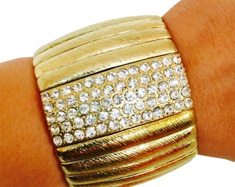 SALE!  Fitbit Bracelet for FitBit Flex or Flex 2 - 'ESTHER' Gold Crystal Stretch Lightweight Bracelet - Free and Fast SHIPPING in U.S.!