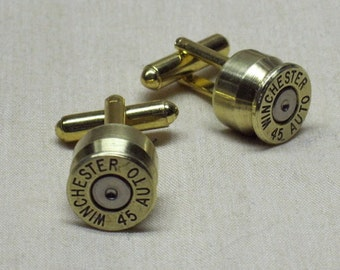 Bullet Cuff Links 45 Auto 45 ACP Brass Bullet Cuff Links