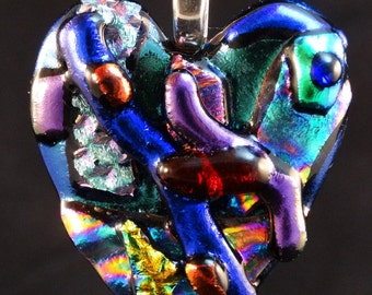 Handcrafted, Dichroic Fused Glass, Glass Art, Fused Multi Color, Heart, Dichroic Jewelry