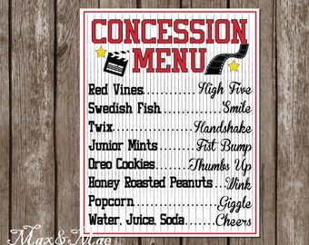 Movie Concession Menu, Movie Party Decor, Movie Night Party Banner, Hollywood Sign, Digital File