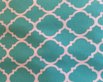 Galaxy Quatrefoil Turquoise 100% cotton fabric by the yard