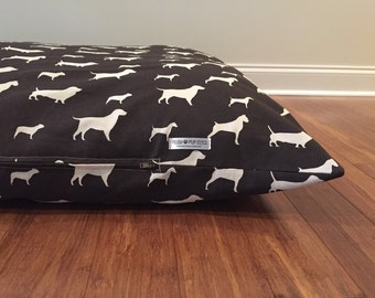 Dog Bed Cover, Dog Bed Duvet, Brown dog bed, Hounds Dog bed cover,Dog Silhouette Dog Bed Covers, Chocolate Brown Dog bed duvet