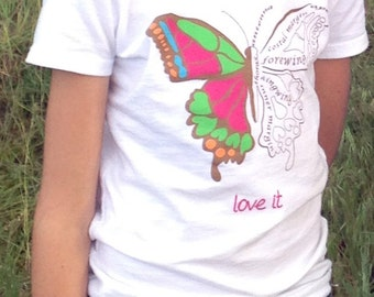 Clothes for girls, tshirt, fun and educational girls shirt, science , BUTTERFLY LOVE, Biology, Please read description for availability