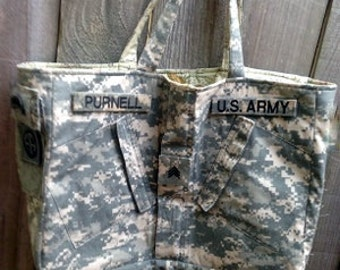 Army Recycled Uniform Tote Bag Purse repurposed upcycled