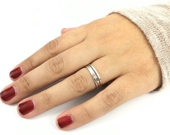 Set of Five Argentium Silver Stacking Rings