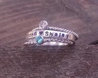 Name Ring Birthstone Set Stacking Rings Sterling Silver Stackable Birthstone Rings