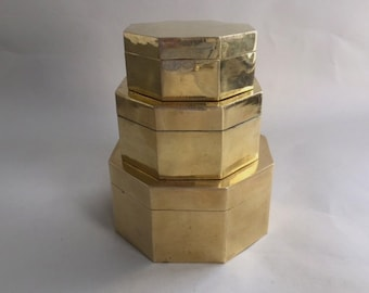 Set of Three Nesting Solid Brass Boxes