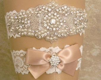 Wedding Garter, Garter Set, Bridal Garter, Wedding Garter Set, Pearl and Rhinestone Garter and Toss Garter, Lace Garters, YOU CHOOSE COLOR