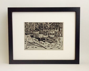 "Beehives in Winter handmade linocut print 5x7"", unframed (gravel gray) - home decor, beekeeper gift, printmaking, kitchen art, birthday gift"